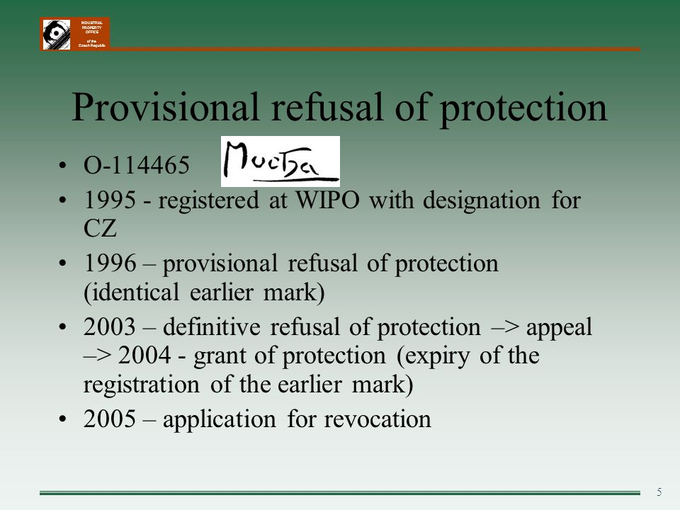 Provisional refusal of protection
