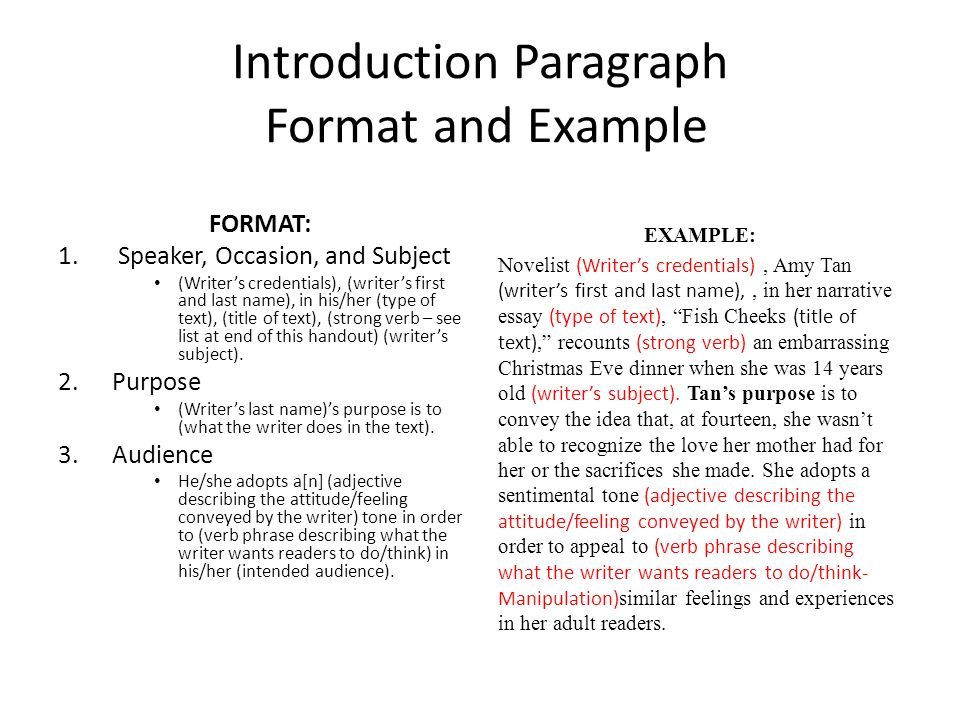 essay intro format Put soaps in your introduction and follow this format: format: 1 speaker, occasion, and subject  body of your analysis essay a sample format is below: format and example  put it all together and this is what one paragraph of the body of a rhetorical analysis essay might look like.