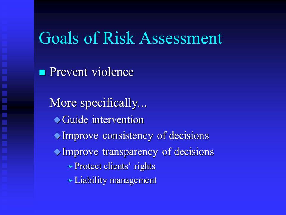 Goals of Risk Assessment