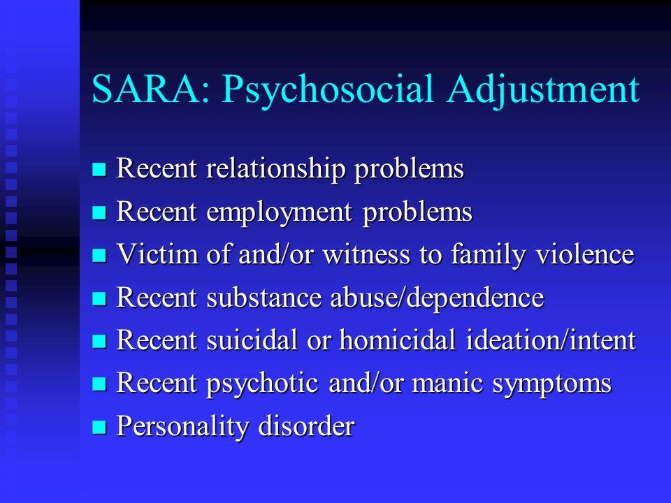 SARA: Psychosocial Adjustment