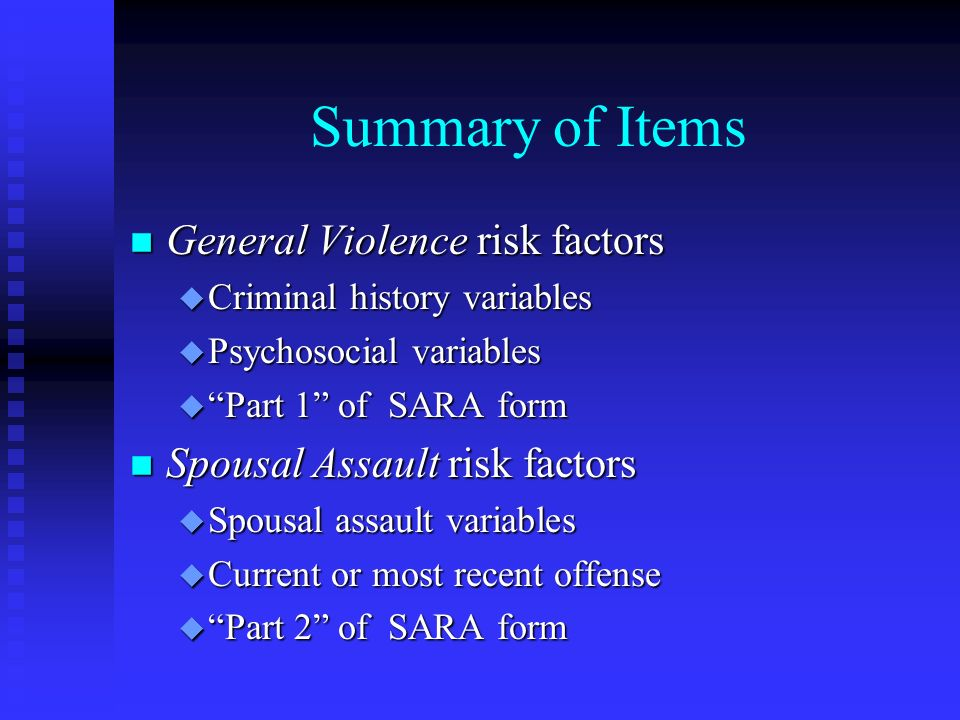 Summary of Items General Violence risk factors