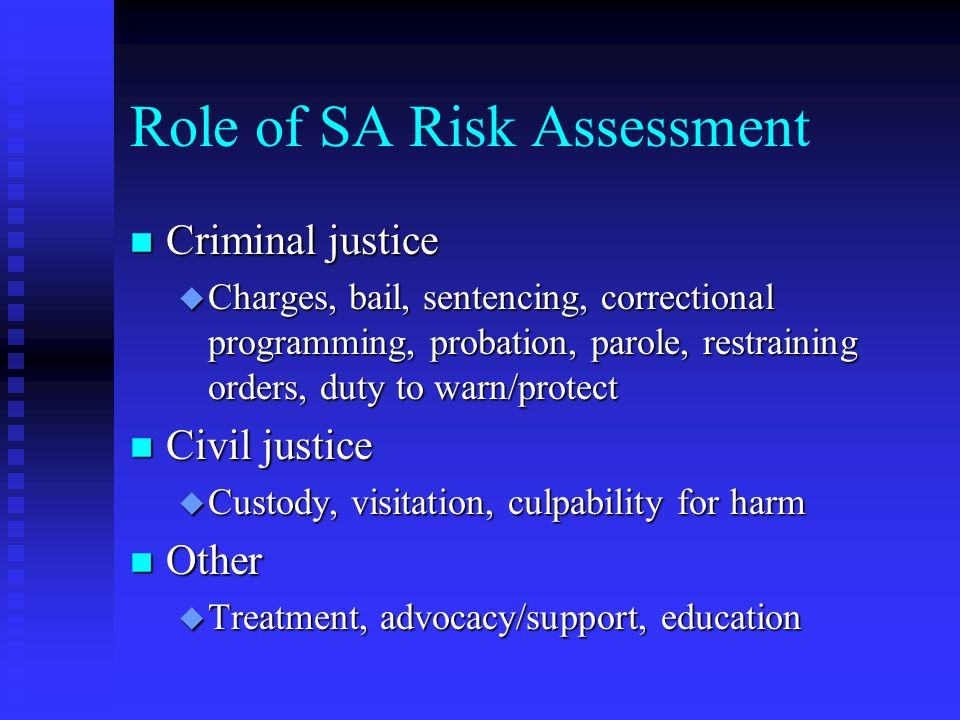 Role of SA Risk Assessment