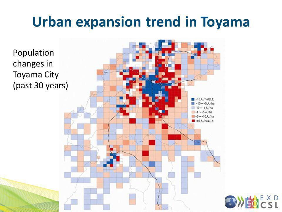 Urban expansion trend in Toyama