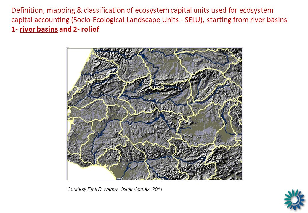 Definition, mapping & classification of ecosystem capital units used for ecosystem capital accounting (Socio-Ecological Landscape Units - SELU), starting from river basins 1- river basins and 2- relief