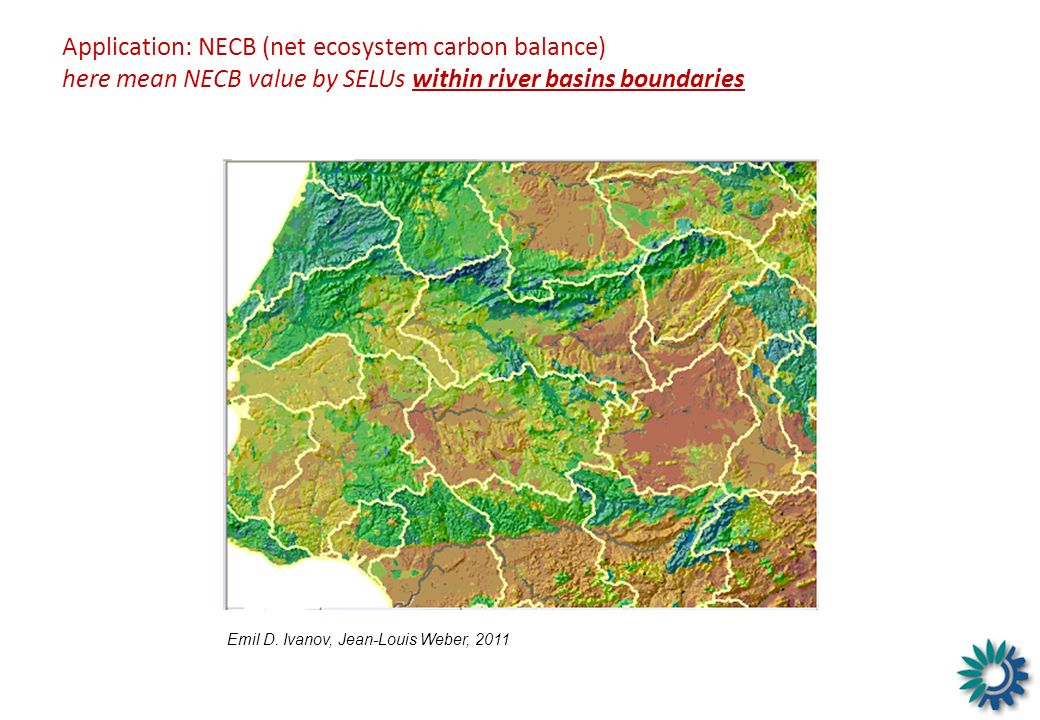 Application: NECB (net ecosystem carbon balance) here mean NECB value by SELUs within river basins boundaries
