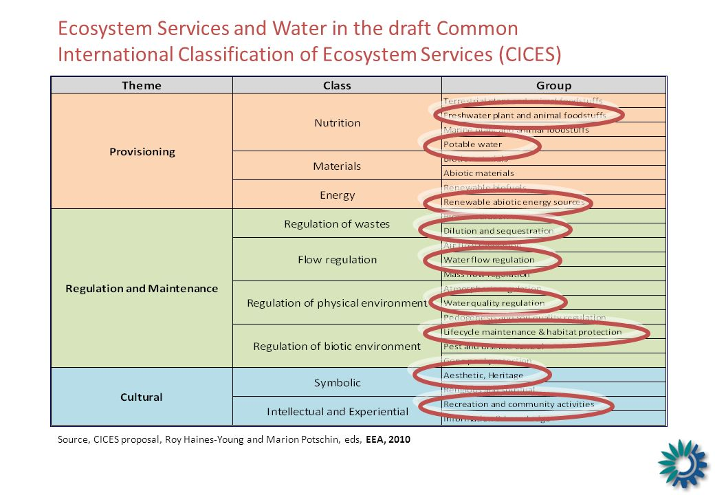 Ecosystem Services and Water in the draft Common International Classification of Ecosystem Services (CICES)