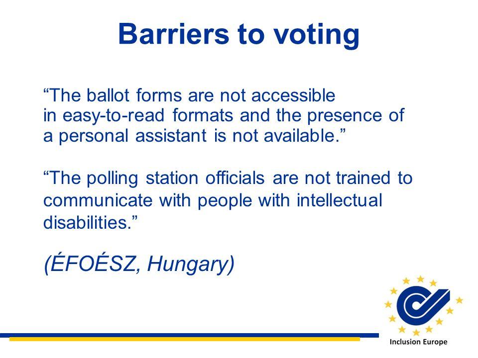 Barriers to voting (ÉFOÉSZ, Hungary)