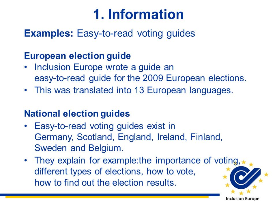 1. Information Examples: Easy-to-read voting guides
