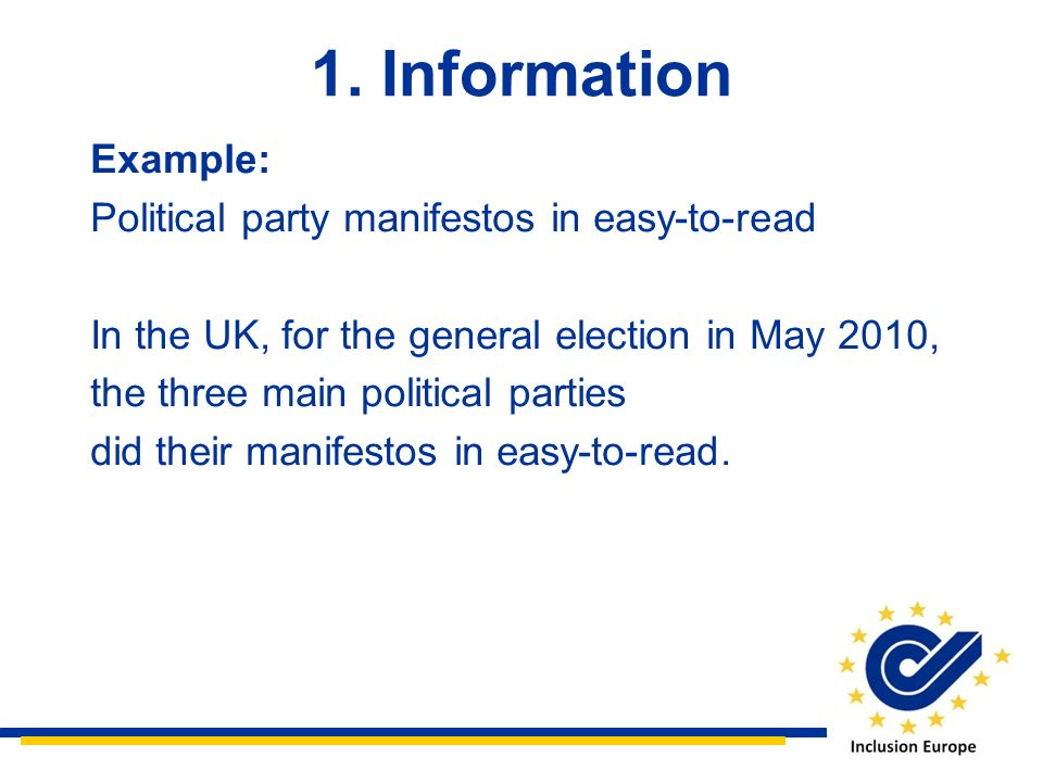 1. Information Example: Political party manifestos in easy-to-read
