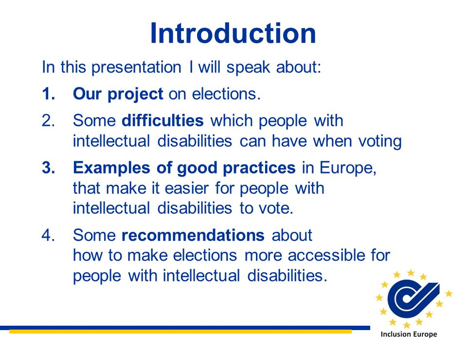 Introduction In this presentation I will speak about: