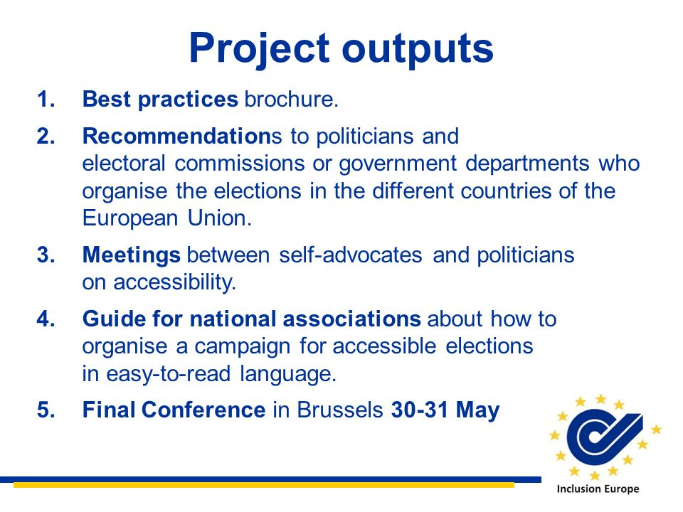 Project outputs Best practices brochure.