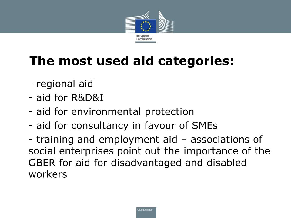 The most used aid categories: