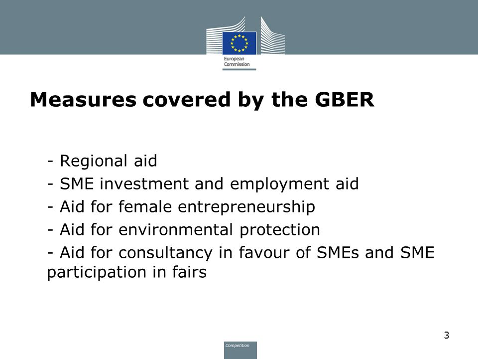 Measures covered by the GBER