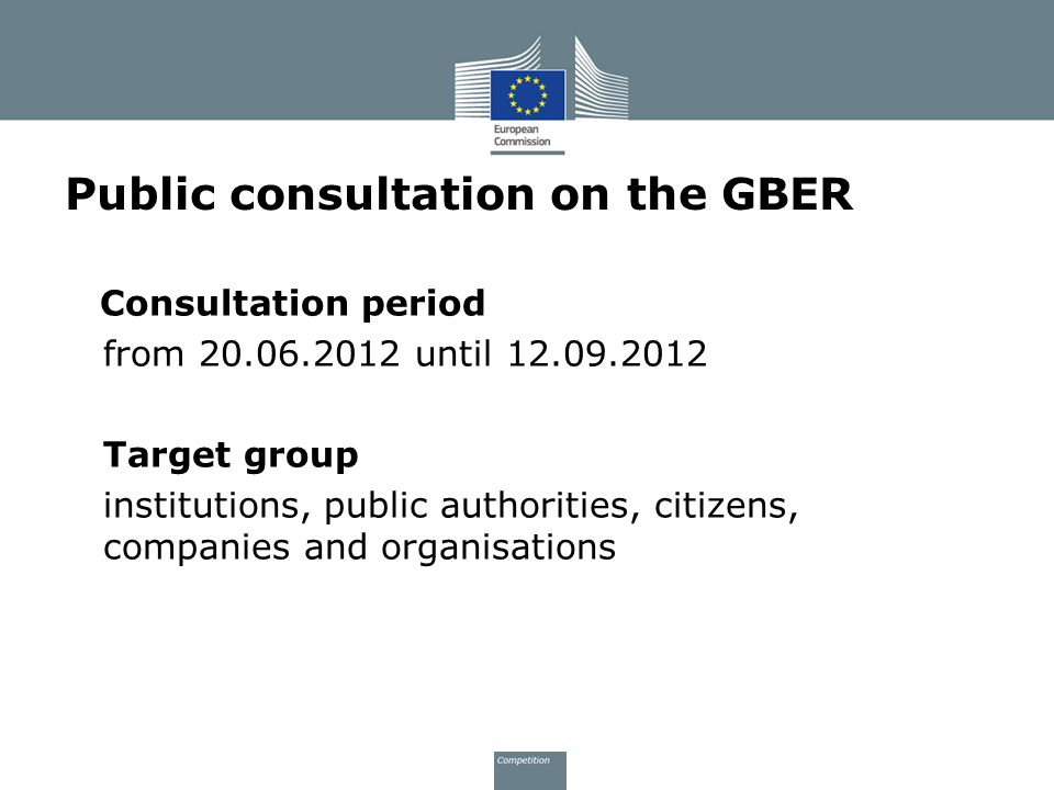 Public consultation on the GBER