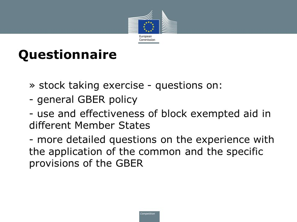 Questionnaire » stock taking exercise - questions on: