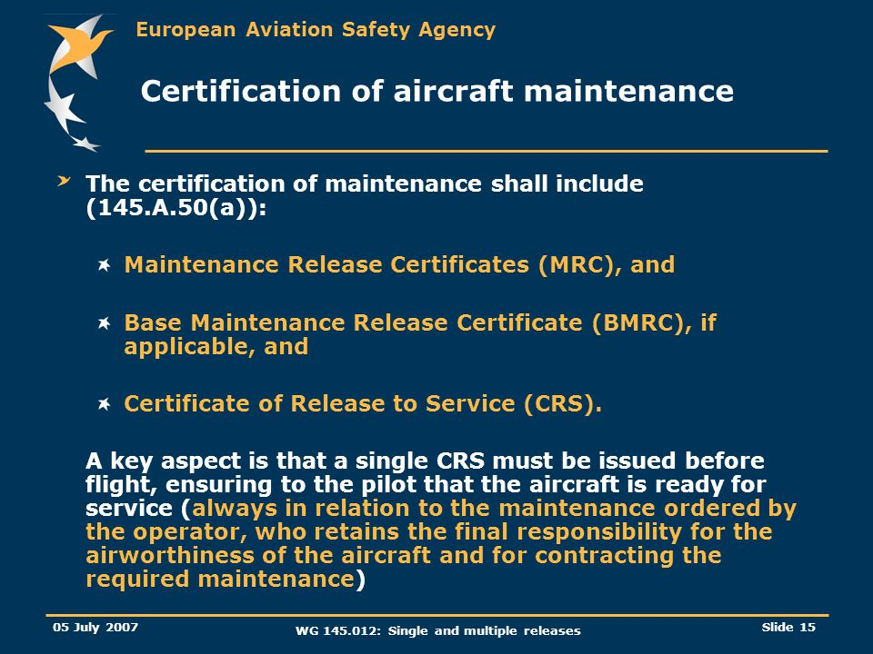 Certification of aircraft maintenance