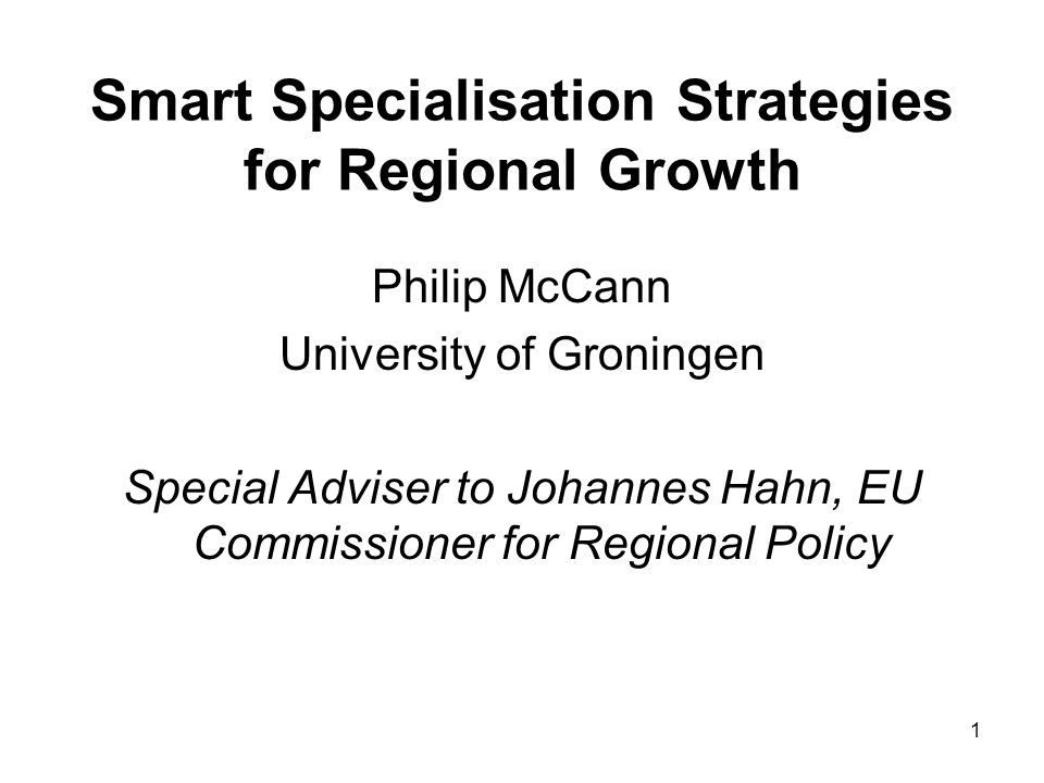 Smart Specialisation Strategies for Regional Growth