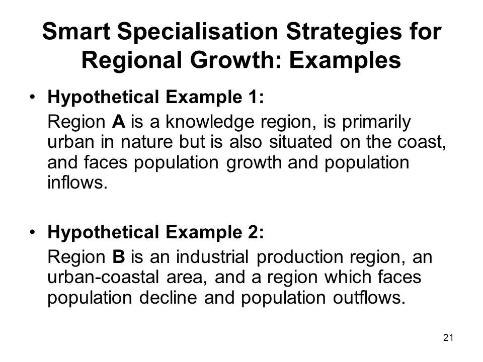 Smart Specialisation Strategies for Regional Growth: Examples