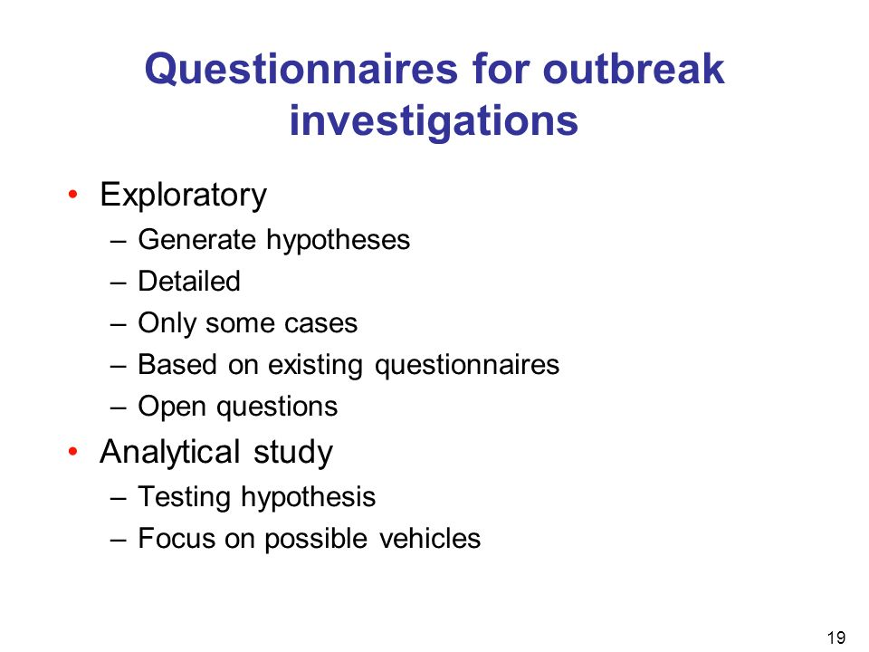 Questionnaires for outbreak investigations