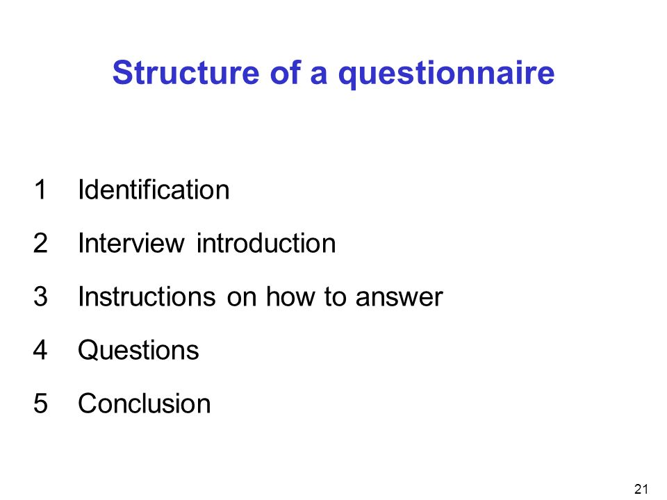 Structure of a questionnaire