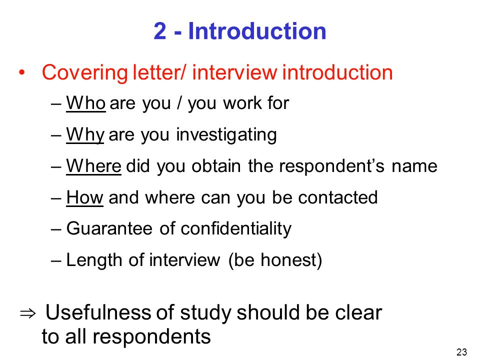 2 - Introduction Covering letter/ interview introduction
