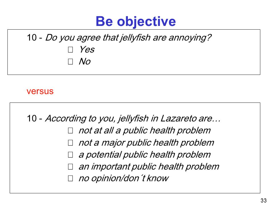 Be objective 10 - Do you agree that jellyfish are annoying  Yes  No