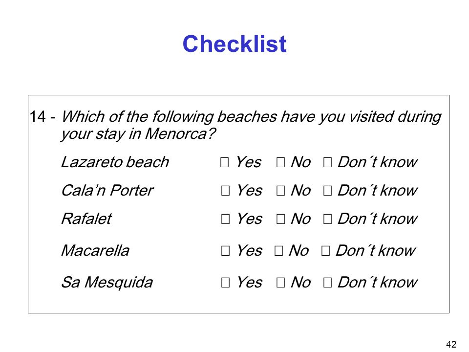 Checklist 14 - Which of the following beaches have you visited during your stay in Menorca