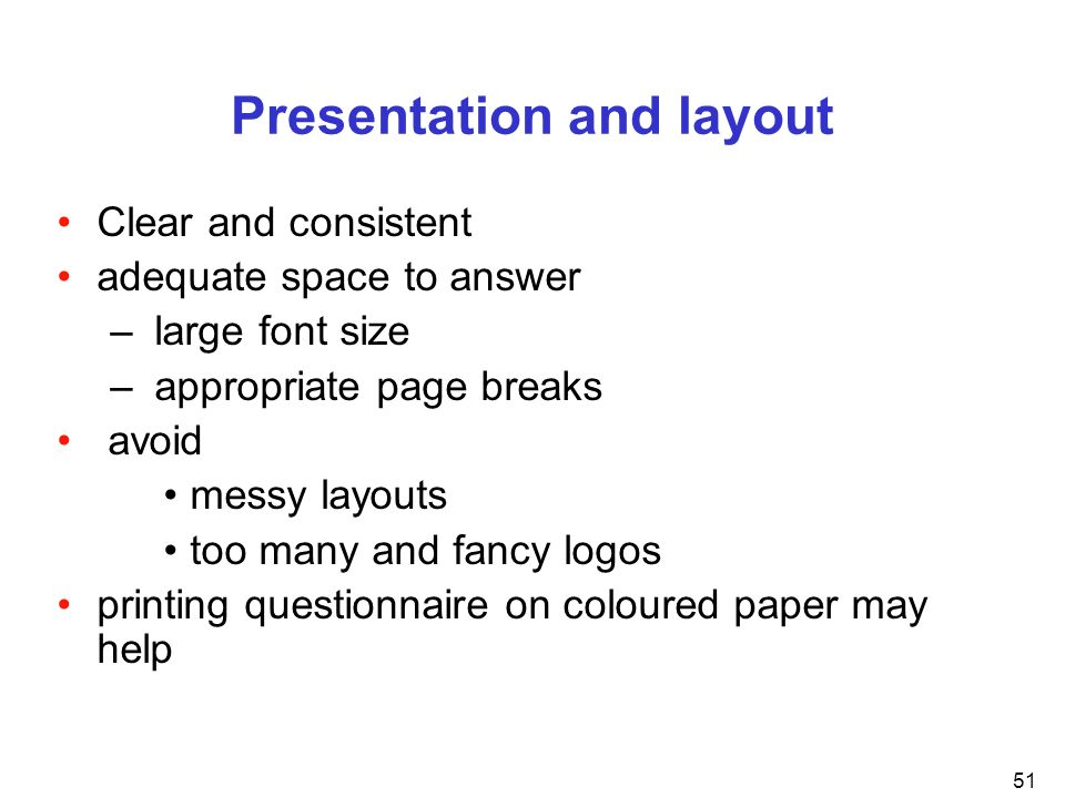 Presentation and layout