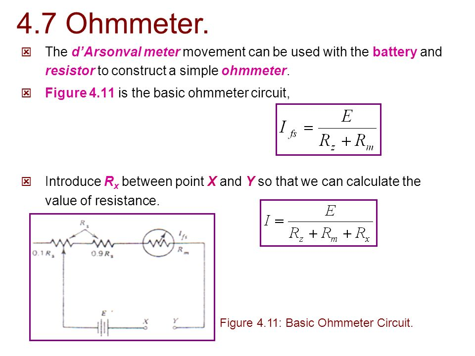 Ohmmeter Circuit Symbol : Ekt chapter dc ac meters ppt video online download