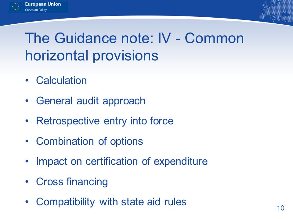 The Guidance note: IV - Common horizontal provisions