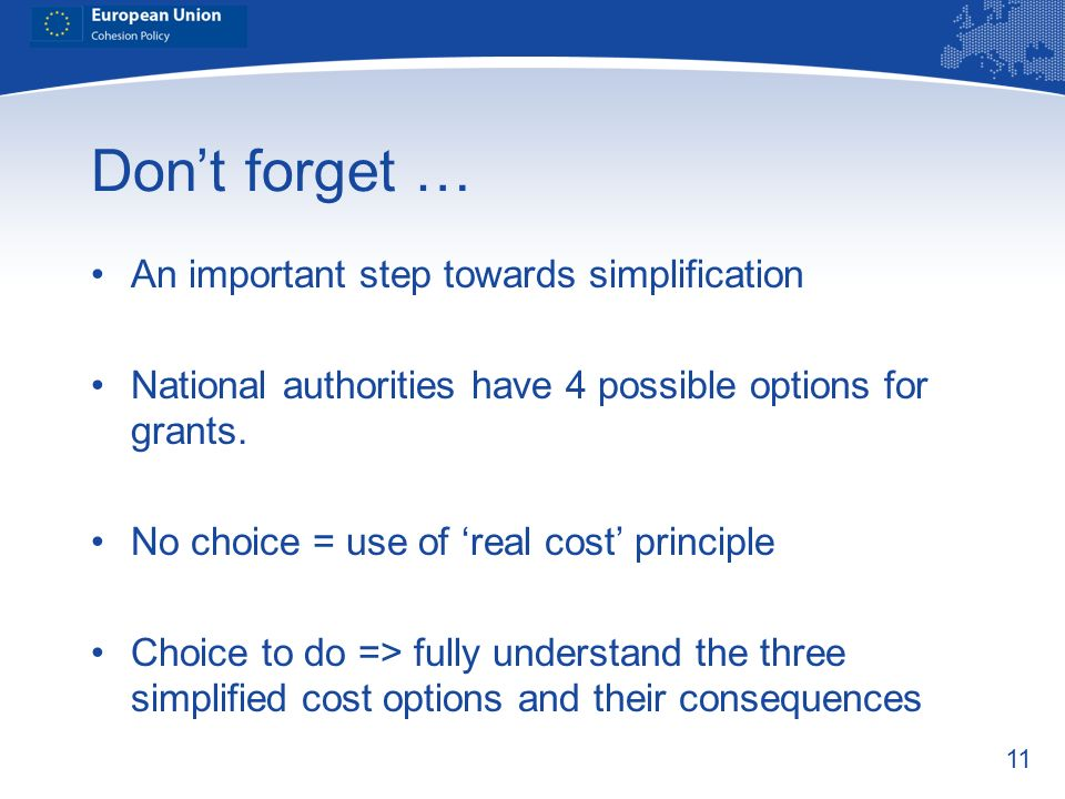 Don't forget … An important step towards simplification