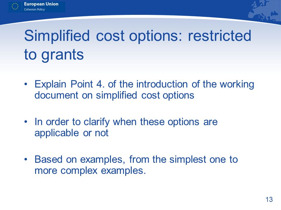 Simplified cost options: restricted to grants