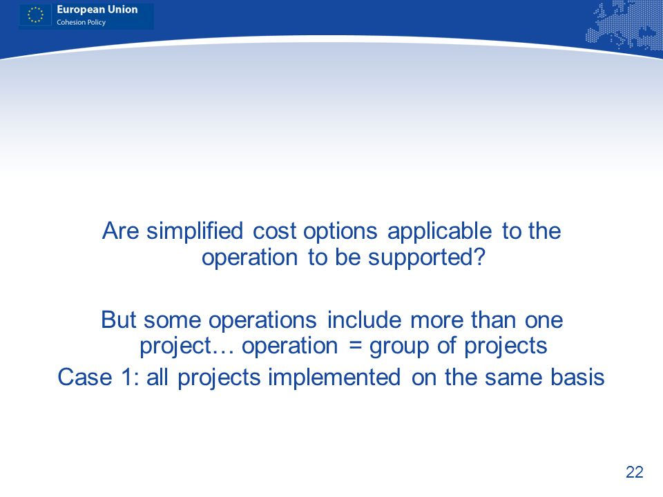 Case 1: all projects implemented on the same basis