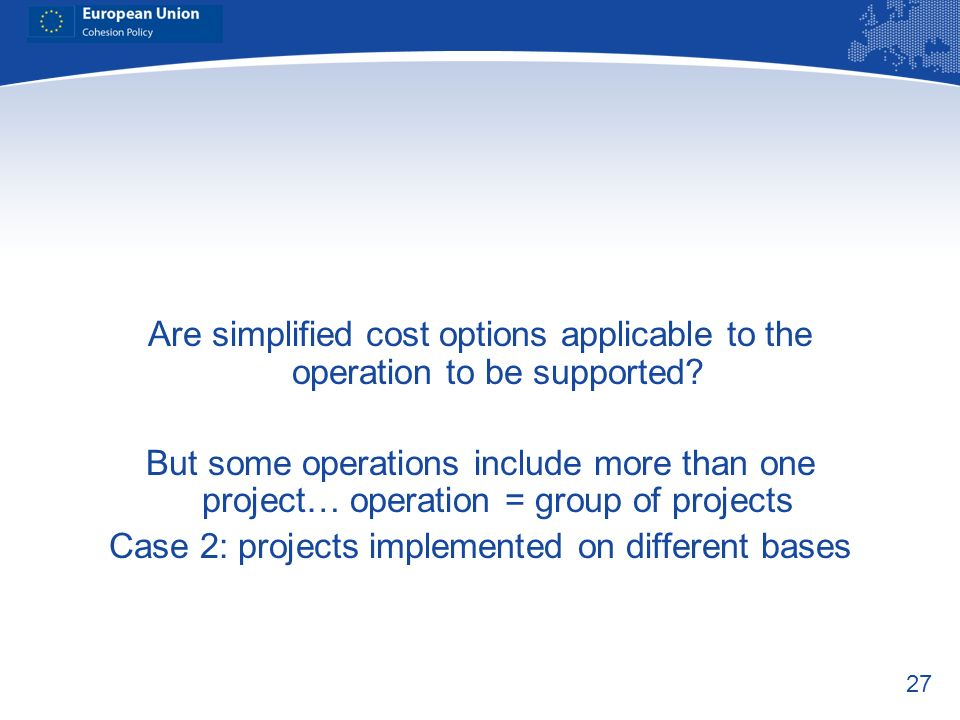 Case 2: projects implemented on different bases