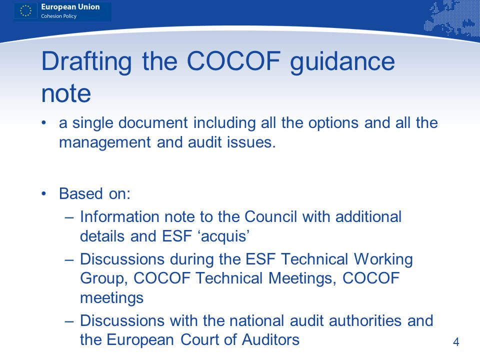 Drafting the COCOF guidance note