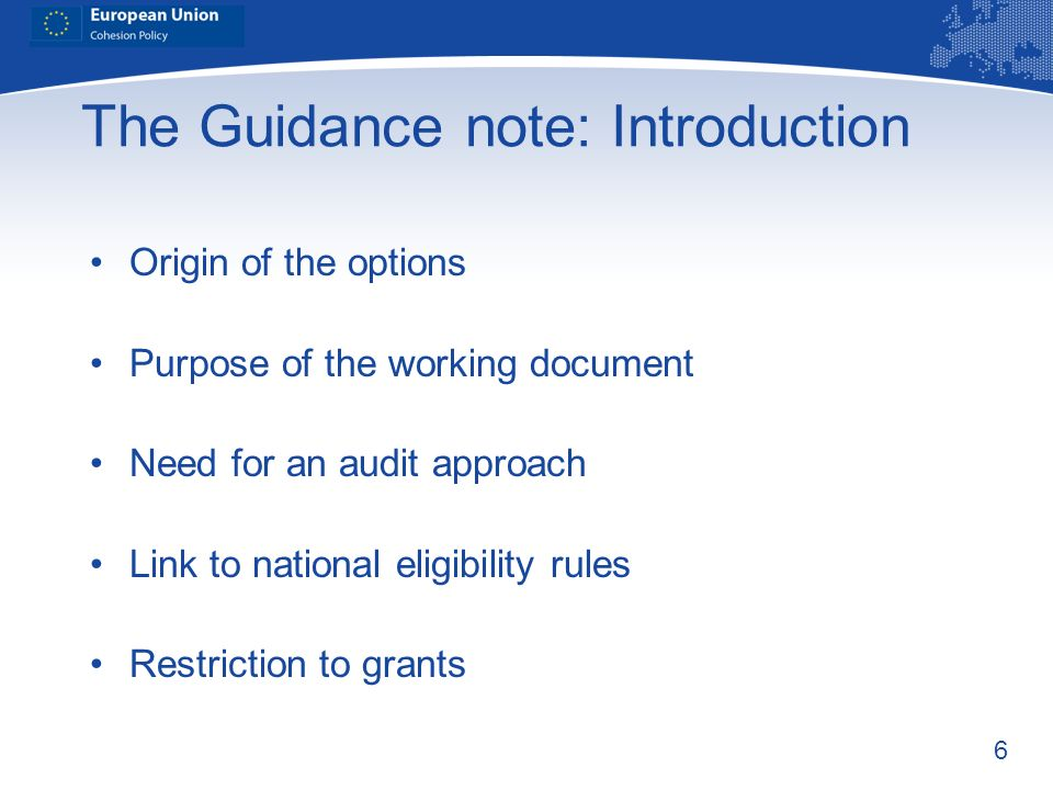 The Guidance note: Introduction