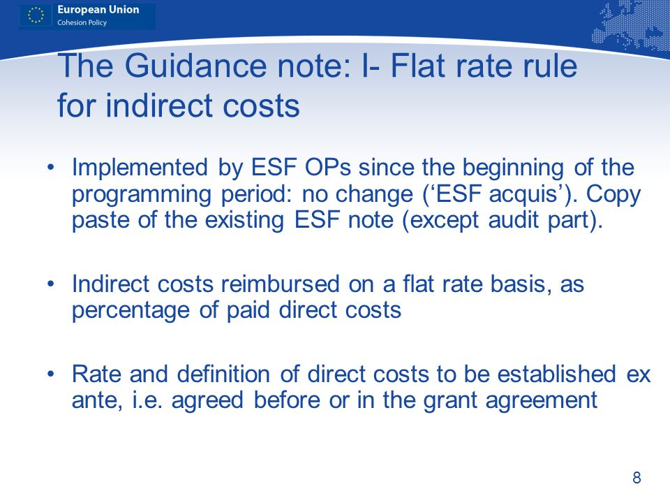 The Guidance note: I- Flat rate rule for indirect costs