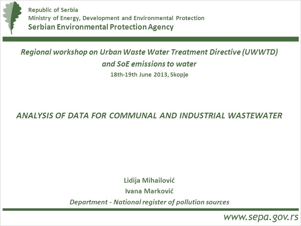 ANALYSIS OF DATA FOR COMMUNAL AND INDUSTRIAL WASTEWATER