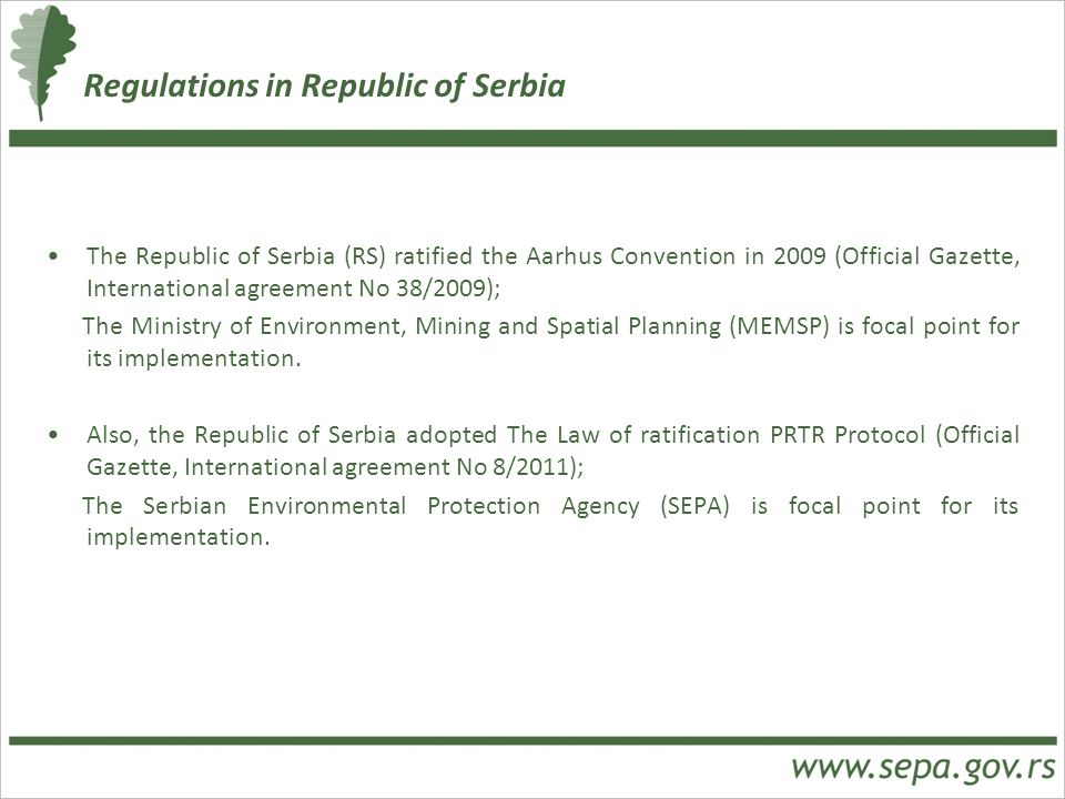 Regulations in Republic of Serbia