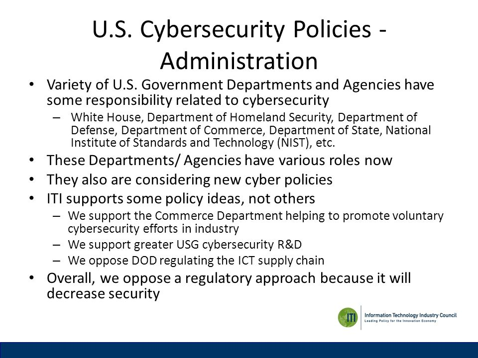 U.S. Cybersecurity Policies - Administration