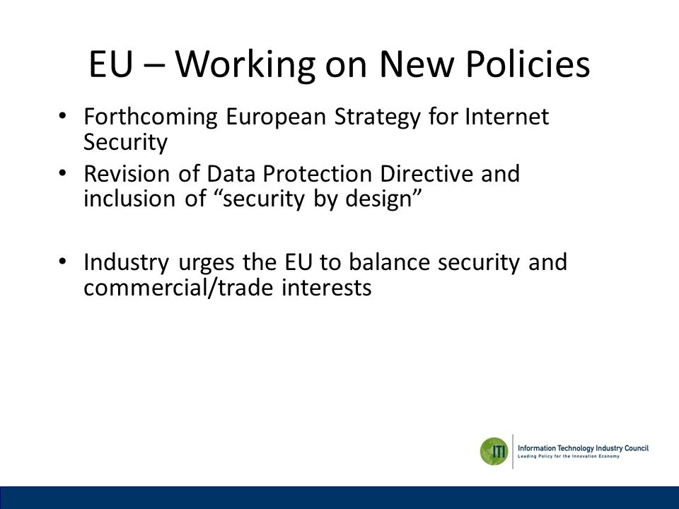 EU – Working on New Policies