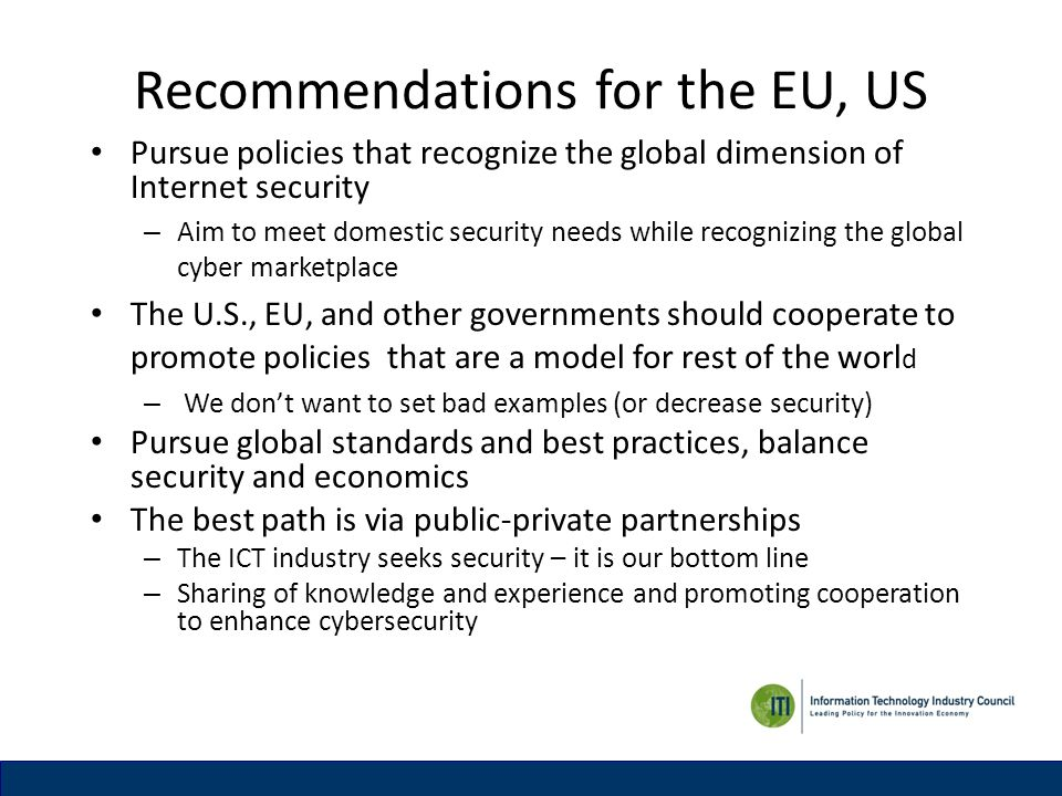 Recommendations for the EU, US