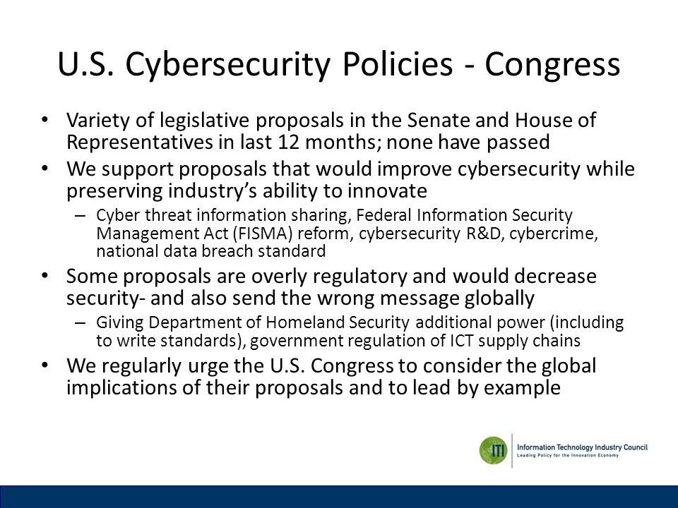 U.S. Cybersecurity Policies - Congress