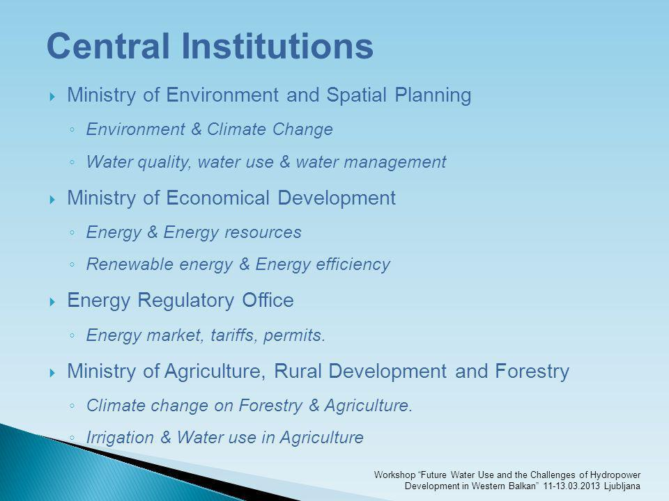 Central Institutions Ministry of Environment and Spatial Planning