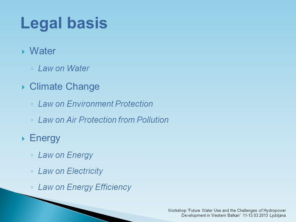 Legal basis Water Climate Change Energy Law on Water