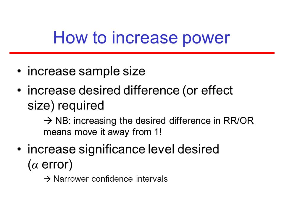 How to increase power increase sample size