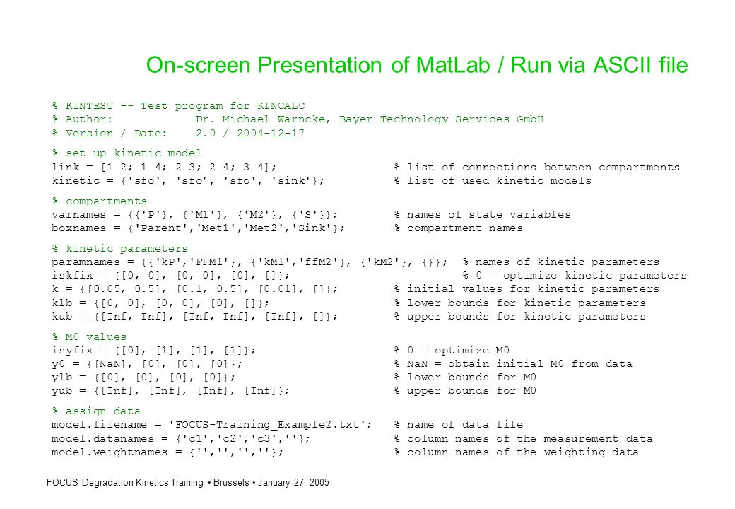 On-screen Presentation of MatLab / Run via ASCII file