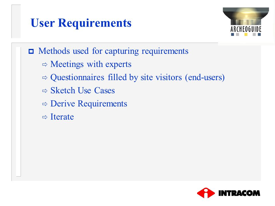User Requirements Methods used for capturing requirements