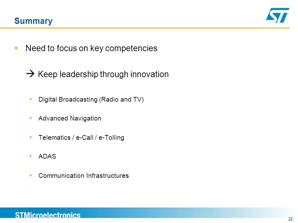 Need to focus on key competencies  Keep leadership through innovation