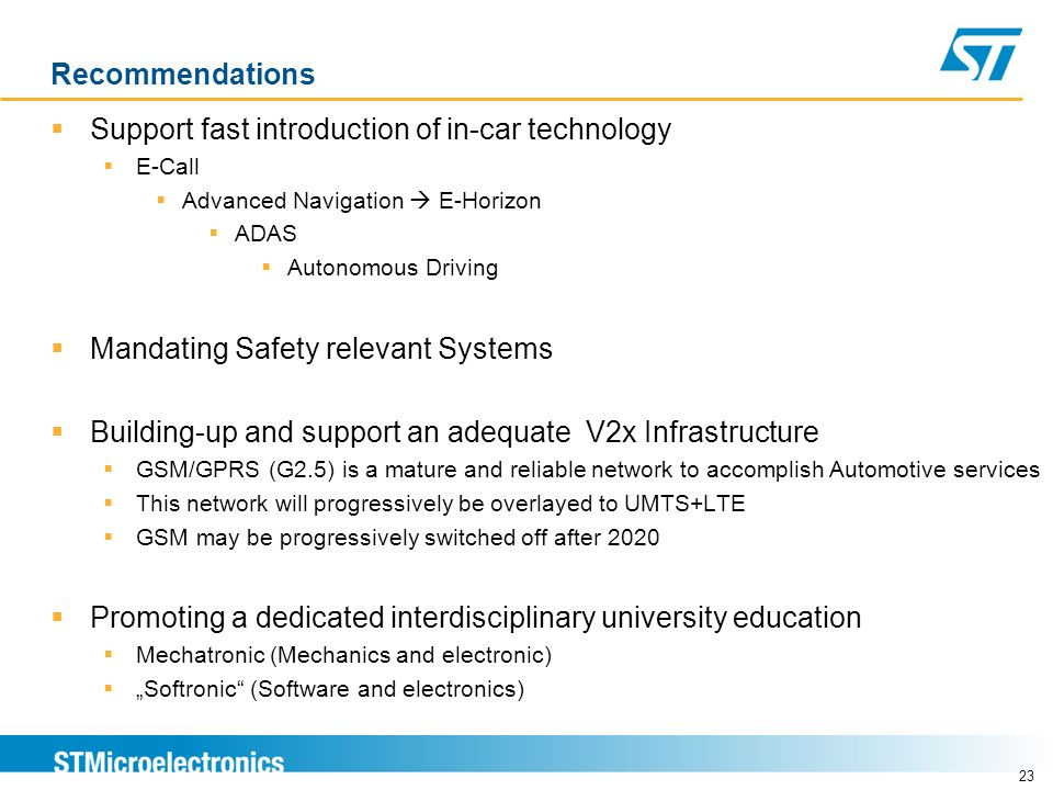 Support fast introduction of in-car technology